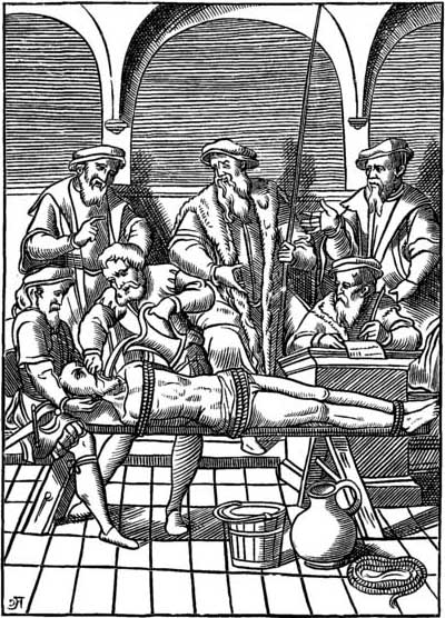 The Water Torture—Facsimile of a woodcut in J. Damhoudère's Praxis Rerum Criminalium, Antwerp, 1556.